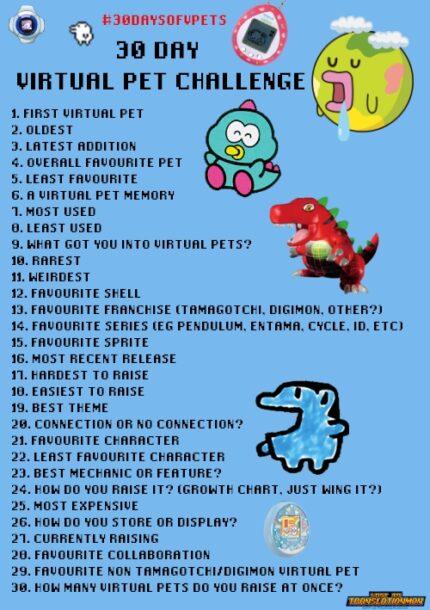 30 Day Virtual Pet Challenge digimon tamagotchi